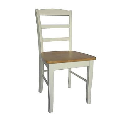 International Concepts Wood Madrid Ladderback Chair, White/Natural