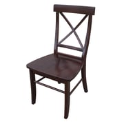 International Concepts Solid Wood X-Back Chair, Rich Mocha