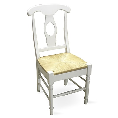 International Concepts Wood Empire Chair With Rush Seat, Linen White 229405