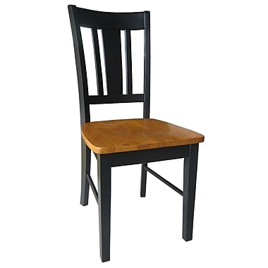 International Concepts Wood San Remo Slatback Chair, Black /Cherry
