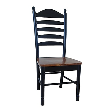 International Concepts Wood Madison Park Tall Ladderback Chair, Black/Cherry