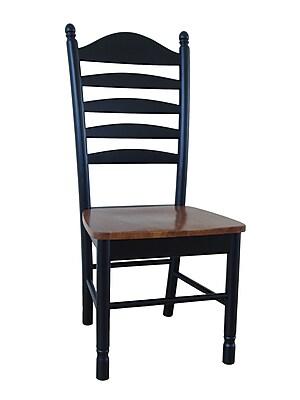 International Concepts Wood Madison Park Tall Ladderback Chair, Black/Cherry