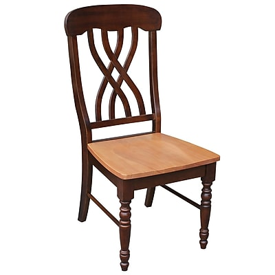 International Concepts Wood Latticeback Chair, Cinnamon/Espresso