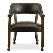 International Concepts Vinyl Dining Chair With Casters, Antique Cherry/Dark Brown