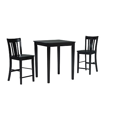 International Concepts 3 Piece Solid Wood Dining Set W/San Remo Stools, Rich Mocha
