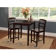 "International Concepts 36"" Square Solid Wood Counter Height Table W/2 Madrid Stools, Rich Mocha"