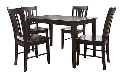 International Concepts 5 Piece Solid Wood Dining Set W/San Remo Chairs, Java