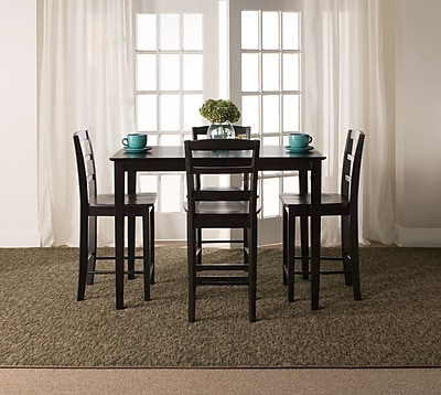 International Concepts 36'' Wood Gathering Height Table W/4 Madrid Stools, Black