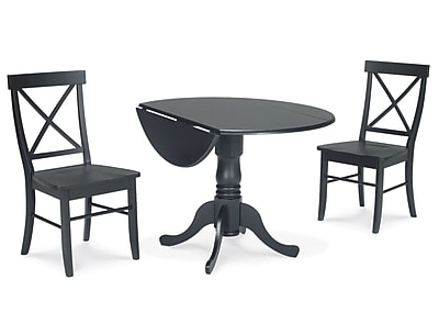 """""International Concepts 3 Piece 29 1/2"""""""" Wood Dual Drop Leaf Dining Set, Black"""""" 229505"