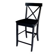 "International Concepts 24"" Parawood X-Back Counterheight Stool"