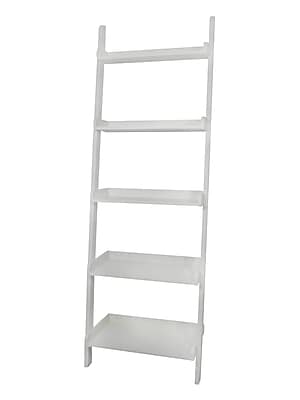 International Concepts Solid Wood 5 Tier Leaning Shelf, White