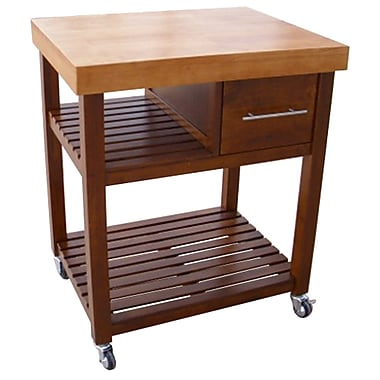 International Concepts Wood Kitchen Work Center With Castors, Cinnamon/Espresso/Natural