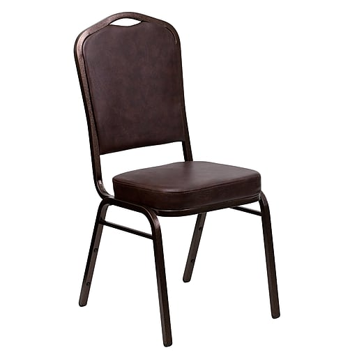 Flash Furniture HERCULES Series Crown Back Banquet Stack Chair with Brown Vinyl and 2.5'' Thick Seat, Copper Vein Frame, 4/Pack