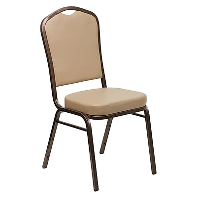 Flash Furniture HERCULES Series Crown Back Stacking Banquet Chair with Tan Vinyl and 2.5'' Thick Seat, Copper Vein Frame, 4/Pack