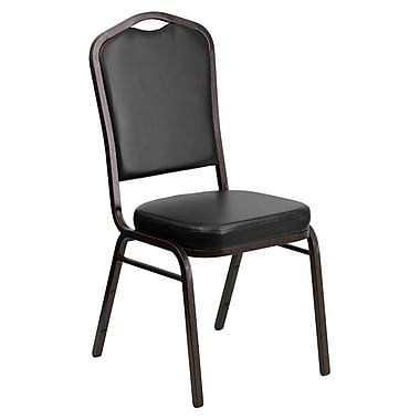 Flash Furniture Hercules Series Crown Back Stacking Banquet Chair with Black Vinyl and 2.5'' Thick Seat, Gold Vein Frame, 4/Pack
