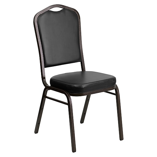 Flash Furniture HERCULES Banquet Chairs W/Black Vinyl & Gold Vein Frame, 4/Pack