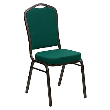 Flash Furniture Hercules Series Crown Back Banquet Stack Chair with Green Fabric and 2.5'' Thick Seat, Gold Vein Frame