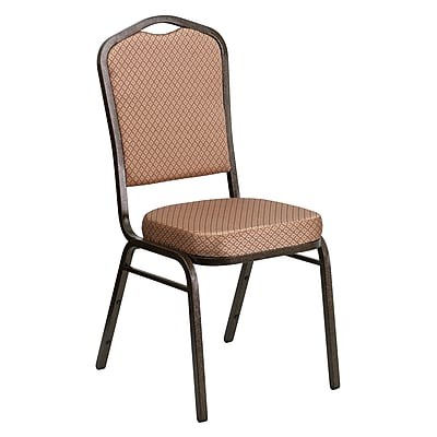 Flash Furniture HERCULES Series Crown Back Banquet Stack Chair with Gold Diamond Fabric and 2.5'' Seat, Gold Vein Frame, 4/Pack