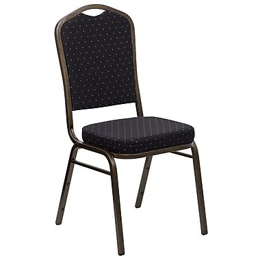 Flash Furniture HERCULES Series Crown Back Stacking Banquet Chair with Black Patterned Fabric and Gold Vein Frame, 10/Pack