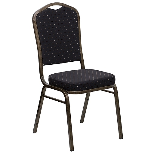 Flash Furniture HERCULES Banquet Chairs W/Black Fabric Seat & Gold Vein Frame, 20/Pack