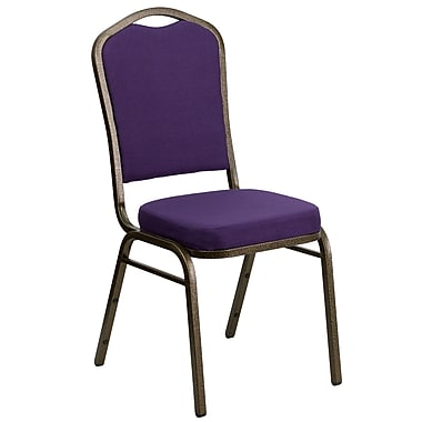 Flash Furniture Hercules Series Crown Back Stacking Banquet Chair with Purple Fabric and Gold Vein Frame