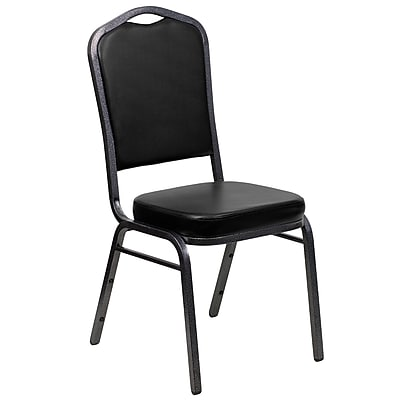 Flash Furniture HERCULES Series Crown Back Banquet Stack Chair with Black Vinyl and 2.5'' Thick Seat, Silver Vein Frame, 20/Pack