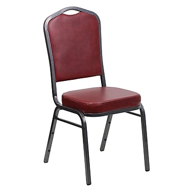 Flash Furniture Hercules Series Crown Back Banquet Stack Chair with Burgundy Vinyl and 2.5'' Seat, Silver Vein Frame, 4/Pack
