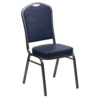 Flash Furniture Hercules Series Crown Back Banquet Stack Chair with Navy Vinyl and 2.5'' Thick Seat, Silver Vein Frame