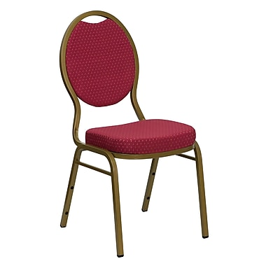 Flash Furniture Hercules Series Teardrop Back Stacking Banquet Chair with Burgundy Patterned Fabric and Gold Frame, 4/Pack