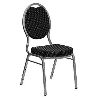 Flash Furniture Hercules Series Teardrop Back Stacking Banquet Chair with Black Patterned Fabric and Silver Vein Frame, 40/Pack