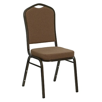 Flash Furniture HERCULES Series Crown Back Banquet Stack Chair with Coffee Fabric and 2.5'' Thick Seat, Gold Vein Frame, 4/Pack