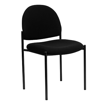 Flash Furniture Fabric Stackable Steel Side Chair, Black