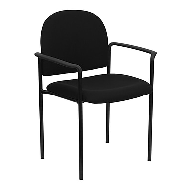 Flash Furniture Fabric Stackable Steel Side Chair with Arms, Black, 15/Pack