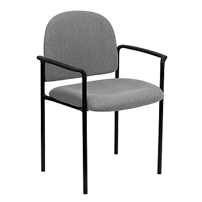 Flash Furniture Fabric Stackable Steel Side Chair with Arms, Gray, 15/Pack