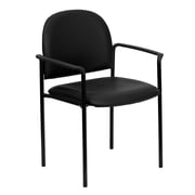Flash Furniture Vinyl Stackable Steel Side Chair with Arms, Black, 15/Pack