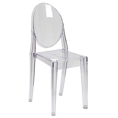 Flash Furniture Ghost Side Plastic Reception Chair, Clear, 36/Pack (36FH111APCCLR)