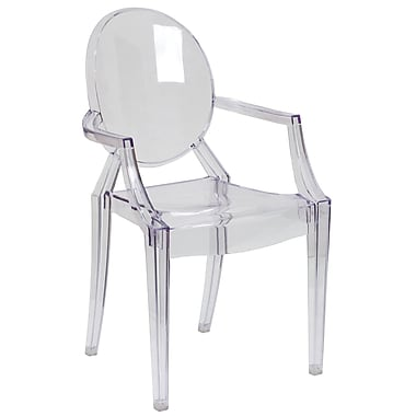Flash Furniture Ghost Chair with Arms, Transparent Crystal, 20/Set (20FH124APCCLR)