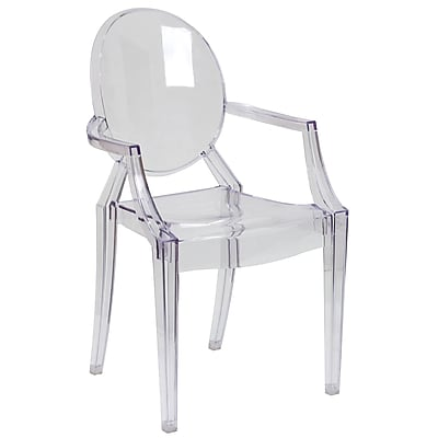 Flash Furniture Ghost Chairs With Arms, Transparent Crystal, 4/Pack