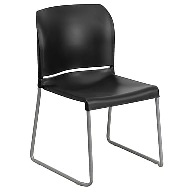 Flash Furniture HERCULES Series 880 lb. Capacity Full Back Contoured Stack Chair with Sled Base, Black