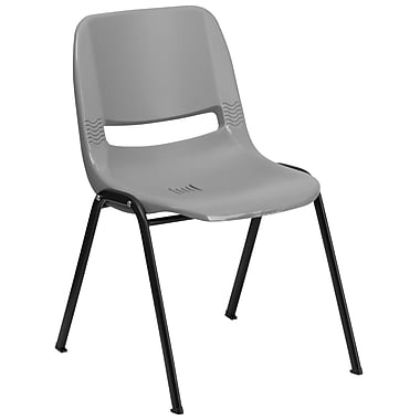 Flash Furniture Hercules Series 880 lb. Capacity Ergonomic Shell Stack Chair, Grey, 30/Pack