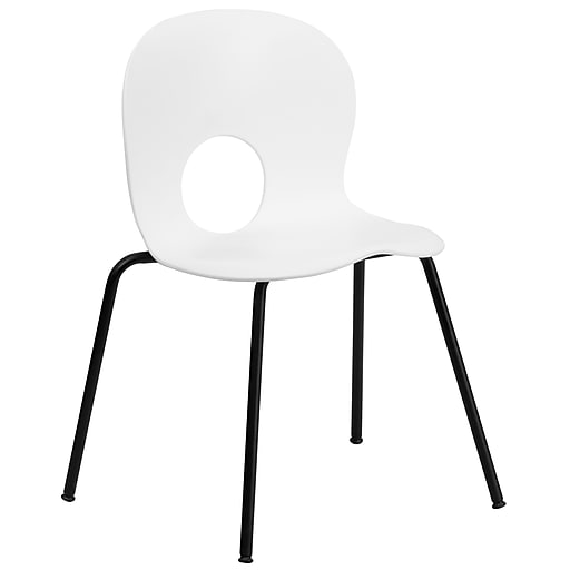 Flash Furniture HERCULES Series 770 lb. Capacity Designer Plastic Stack Chair with Black Frame Finish, White, 20/Pack