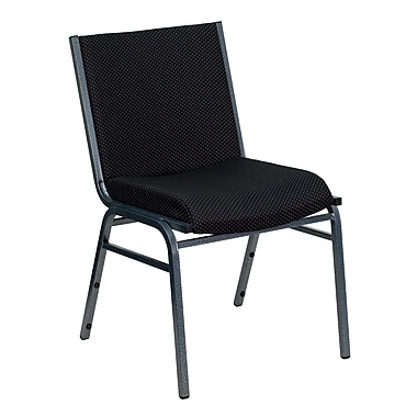 Flash Furniture Hercules Series Heavy Duty, 3'' Thickly Padded, Upholstered Stack Chair, Black Patterned, 20/Pack