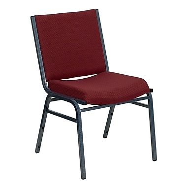 Flash Furniture HERCULES Series Heavy Duty, 3'' Thickly Padded, Upholstered Stack Chair, Burgundy Patterned, 20/Pack