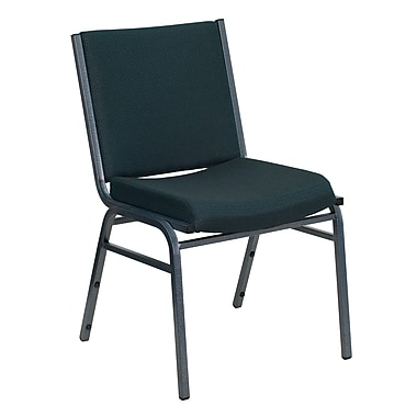 Flash Furniture HERCULES Series Heavy Duty, 3'' Thickly Padded, Upholstered Stack Chair, Green Patterned, 20/Pack