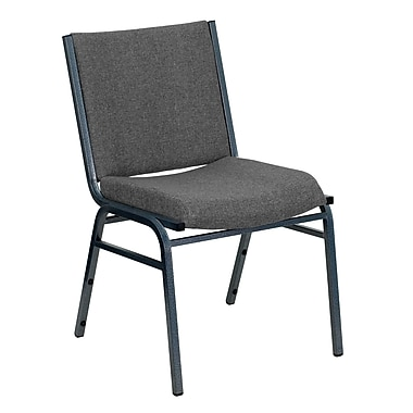 Flash Furniture Hercules Series Heavy Duty, 3'' Thickly Padded, Upholstered Stack Chair, Grey