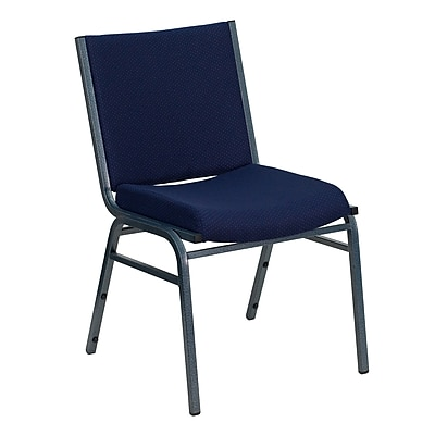 Flash Furniture HERCULES Series Heavy Duty, 3'' Thickly Padded, Upholstered Stack Chair, Navy Patterned