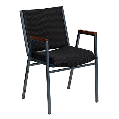 Flash Furniture HERCULES Series Heavy Duty, 3'' Thickly Padded, Upholstered Stack Chair with Arms, Black Patterned, 4/Pack
