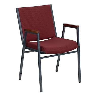 Flash Furniture Hercules Series Heavy Duty, 3'' Thickly Padded, Upholstered Stack Chair with Arms, Burgundy Patterned, 4/Pack