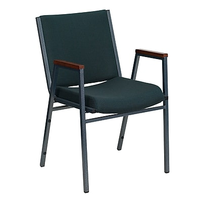 Flash Furniture HERCULES Series Heavy Duty, 3'' Thickly Padded, Upholstered Stack Chair with Arms, Green Patterned