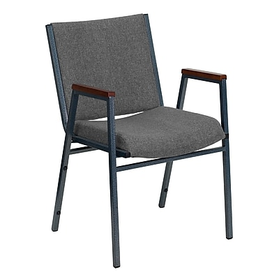 Flash Furniture HERCULES Series Heavy Duty, 3'' Thickly Padded, Upholstered Stack Chair with Arms, Gray